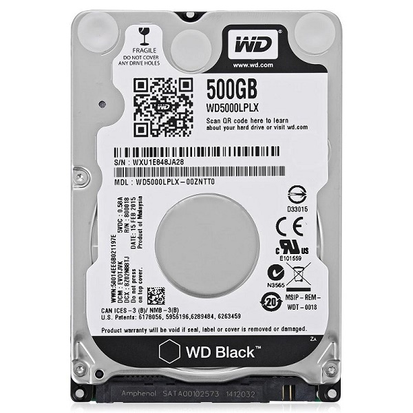 "Жесткий диск 2.5"" 500Gb WesternDigital WD Black WD5000LPLX, 7200rpm, 32Mb, SATA3"