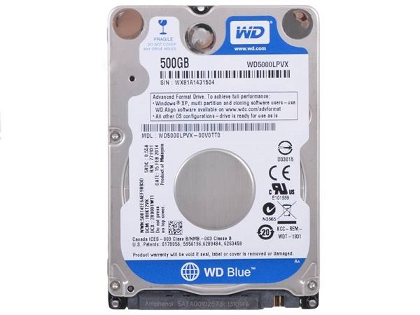 "Жесткий диск 2.5"" 500Gb WesternDigital WD Blue Mobile WD5000LPCX, 5400rpm, 16Mb,  SATA3"