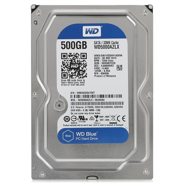 "Жесткий диск 3.5"" 500Gb WesternDigital WD Blue Desktop WD5000AZLX, 7200rpm, 32Mb, SATA3"