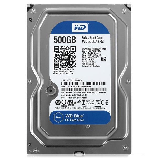 "Жесткий диск 3.5"" 500Gb WesternDigital WD Blue Desktop WD5000AZRZ, 5400rpm, 64Mb, SATA3"